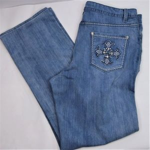 Reba Light Wash Denim Embellished Jeans Size 14